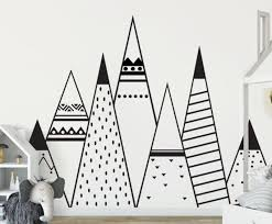 Nursery Wall Decal Tribal Woodland Mountain Wall Decor Sticker Kids Boys Bedroom Ebay