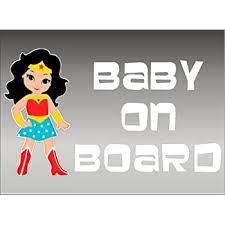 Amazon Com Wonder Woman Baby On Board Dc Comics Kids Window Vinyl Vehicle Decal Graphic Sticker Automotive