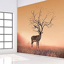 Amazon Com Wallpaper Diy Sika Deer Head Flowers Wall Stickers Art Vinyl Wall Decals Kids Baby Living Room Home Decor Adesivo De Parede 400x280cm Baby