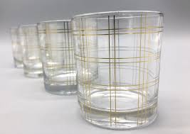 gold striped cocktail tumbler glass set