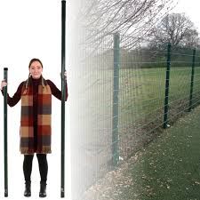 1 5m 2 3m Fence Post Green Square Round Steel Metal Fencing Stake Powder Coated Ebay