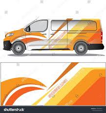 White Van Car Decal Witha Orange Stock Vector Royalty Free 1350257831