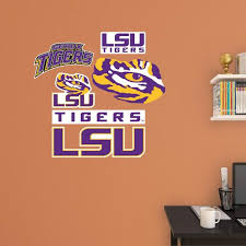 Fathead 39 In H X 24 In W Lsu Tigers Team Logo Assortment Wall Mural 15 16808 The Home Depot