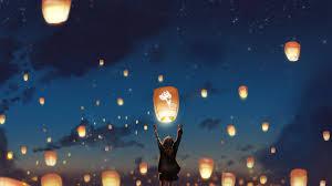 wallpaper lantern night clouds