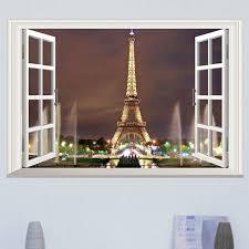 Best Offer 60db04 Removable Art 3d Window Paris Eiffel Tower Art Decal Wall Sticker Diy Pvc Home Decor Landscape Window Wall Sticeker Cicig Co