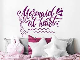 Amazon Com Mermaid At Heart Wall Quote Decals Mermaid Wall Art Mermaid Tail Wall Stickers Nautical Bedroom Decor Girls Mermaid Nursery Decor For Girls Ns1128 Handmade