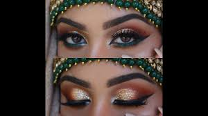 gold and green arab eye makeup you