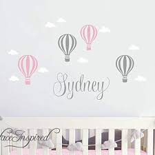 Amazon Com Name Wall Sticker Wall Decal Nursery Balloons Clouds With Personalized Name Wall Decal Removable Nursery Wall Decals Stickers From Surface Inspired 1070 Handmade