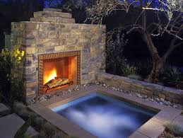hot tub garden outdoor fireplace