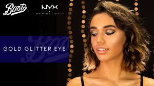 make up tutorial gold glitter eye