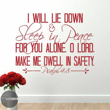 Psalm 4 8 Vinyl Wall Art In Peace I Will Lie Down And Sleep For You Alone Lord For Sale Online Ebay