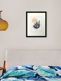 Mountain Watercolor Mountain Moon Framed Art Print By Rosaliartbook Redbubble