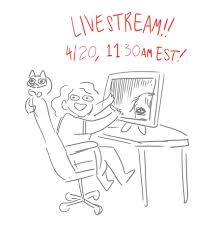 Hi! It's me, cartoonist Abby Howard and I'll be doing another livestream  today at 11:30 EST! I'll be taking OC and fanart requests, and *might* do  another random word pair comic! Link