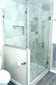 glass shower door and half wall