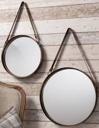 faux leather hanging strap mirror