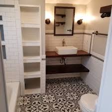 white tile bathroom with distressed