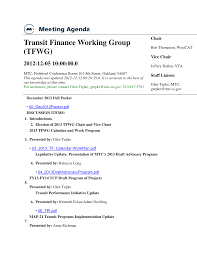 MTC Meeting Agenda: Transit Finance Working Group (TFWG), 2012-12-05  10:00:00.0