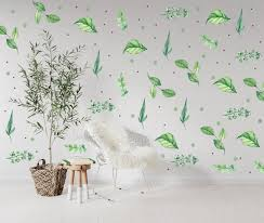 Botanical Print Green Leaf Wall Decal Kids Wall Decal Etsy