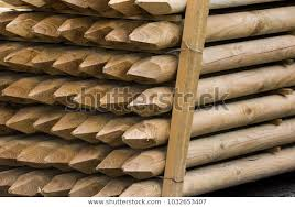 Wooden Fence Posts Round Wood Piles Stock Photo Edit Now 1032653407