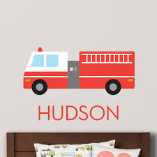 Firetruck Wall Decal Personalized Maxwill Studio