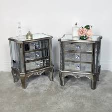 3 drawer mirrored bedside table set