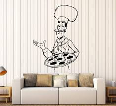 Vinyl Wall Decal Pizza Chef Fast Food Restaurant Stickers Unique Gift Wallstickers4you