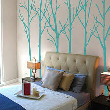 Amazon Com Mairgwall Six Trees Wall Decal Tree Vinyl Wall Poster Nature Wall Sticker For Bedroom S Teal Color Home Kitchen