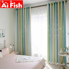 Rainbow Colorful Stripe Lace Curtain Double Layer Hollow Stars For Kids Bedroom Blackout Drape Tulle Curtain Custom Panel M080 5 Curtains Aliexpress