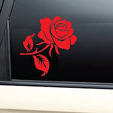 Amazon Com Rose Vinyl Decal Laptop Car Truck Bumper Window Sticker Red Automotive