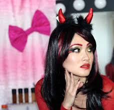 hair and makeup for devil costume