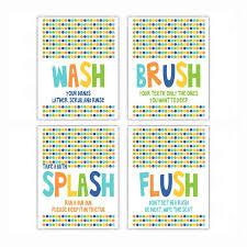 Kids Bathroom Rules Wash Brush Flush Wall Art Inktropolis