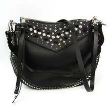 leather studded handbag shoulder bag