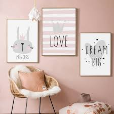 Frameless Cute Kids Room Wall Art Canvas Nursery Poster Print Cartoon Rabbit Princess Love Painting Baby Kids Room Decoration No Frame Wish