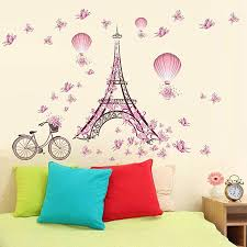 Amazon Com Wall Stickers New Eiffel Tower Butterfly Flower Fairy Stickers Bedroom Living Room Walls Home Garden Kitchen Accessories Decorative Stickers Wall Murals Kitchen Dining