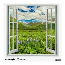 Mountain Views With Flowers Faux Window Wall Decal Zazzle Com