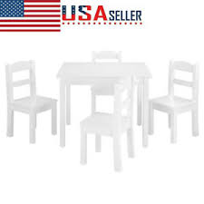 Kids Table Chairs Wood Set Of 4 Learning And Playing Fun Games Room Furniture 792378491534 Ebay