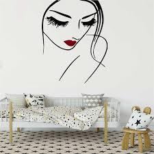 Face Makeup Beauty Salon Wall Decal Girls Beautiful Face Sexy Lips Interior Vinyl Modern Design Art Mural Wall Stickers Syy554 Designer Wall Stickers Wall Stickerbeauty Salon Wall Decals Aliexpress