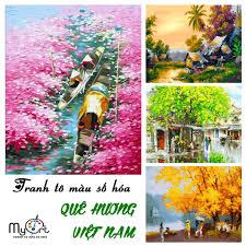 Tranh tô màu sơn dầu số hóa tự vẽ Myart - Tổng hợp tranh vẽ về Việt Nam Làng  quê phố cổ áo dài