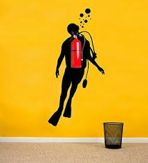 Scuba Diver Wall Decal For Fire Extinguishers Fun Vinyl Mural Art For Walls Ebay