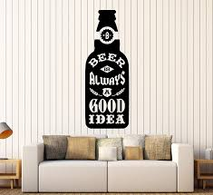 Amazon Com Large Vinyl Wall Decal Beer Bottle Quote Bar Alcohol Lounge Pub Stickers Large Decor Ig4436 Pink Home Kitchen