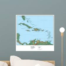 Map Caribbean America Wall Mural Decal Sticker Wallmonkeys Peel Stick Vinyl Graphic 18 In W X 17 In H Walmart Com Walmart Com