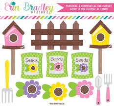Flower Garden Clipart Spring Digital Clip Art Graphcis With Birdhouses Seeds Fence Instant Download Commercial Use By Erin Bradley Designs Catch My Party