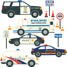 Amazon Com Five Police Car Decals Police Vehicles Wall Decals Fabric Decals Are Repositonable Home Kitchen