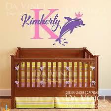 Custom Name Wall Decal Sticker Monogram Vinyl Dolphin Nautical Baby Girl Nursery Ebay