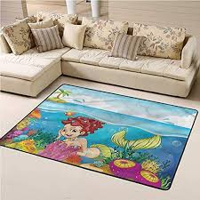 Amazon Com Rugs Underwater Palm Trees In Island Vintage Decor Area Rug For Boys Kids Room Living Room Home Decor 4 X 6 Feet Kitchen Dining