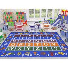 Ottomanson Jenny Collection Light Blue Alphabet Design 5 Ft X 7 Ft Non Slip Kids Area Rug Jna370036 5x7 The Home Depot
