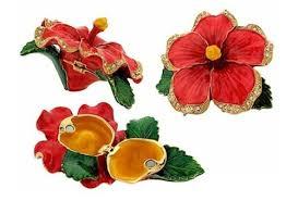 red hibiscus flower pewter figurine box