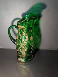 vintage emerald glass pitcher with gold