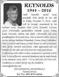 Adele Reynolds - Obituaries - Lacombe, AB - Your Life Moments