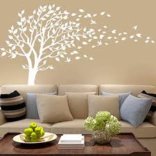 Amazon Com White Tree Wall Decals Leaves Blowing In The Wind Tree Wall Sticker Vinyl Art Kids Rooms Teen Girls Boys Wallpaper Murals Sticker Wall Stickers Nursery Decor Nursery Decals Kitchen Dining